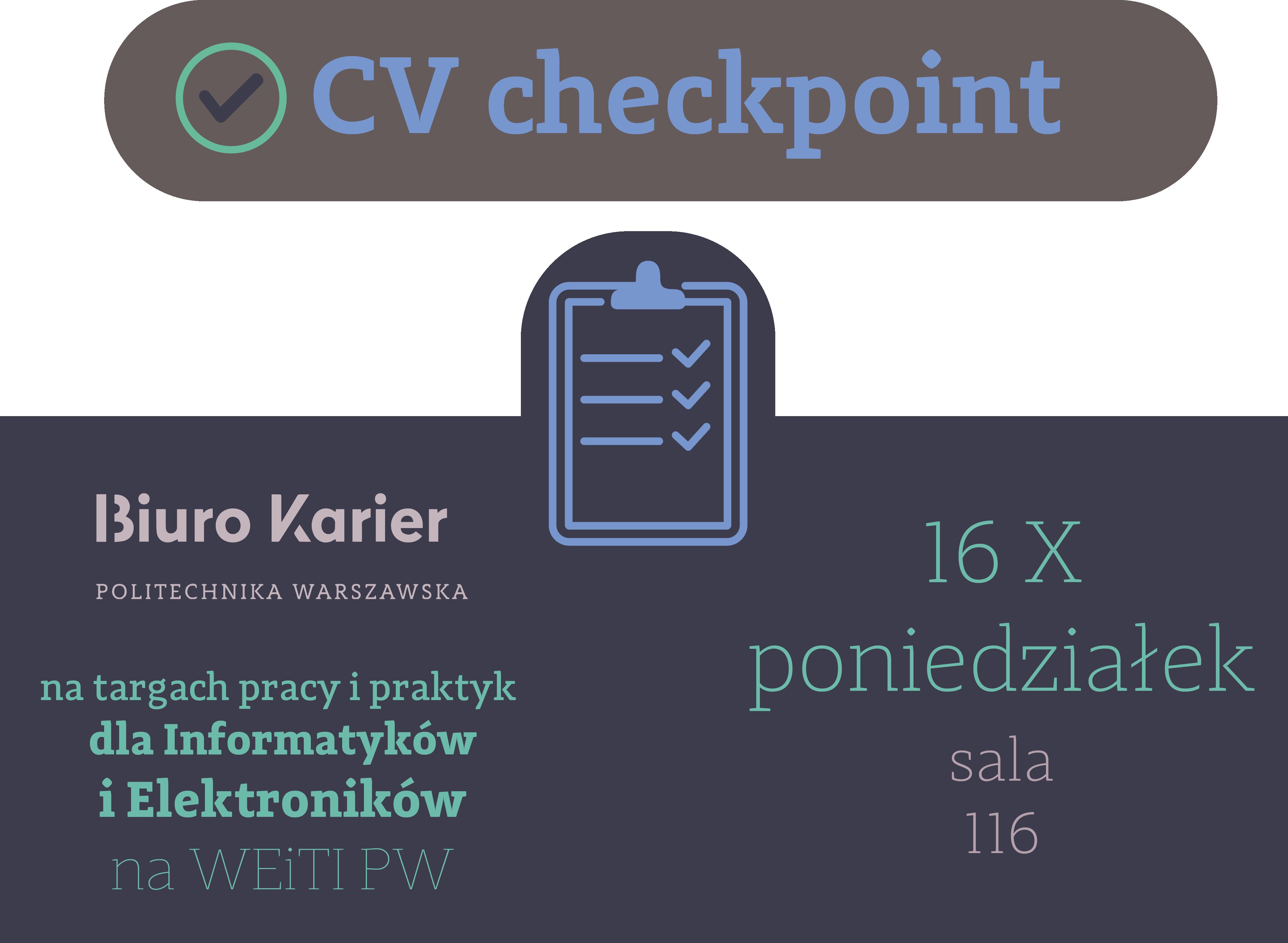 CV- CHECKPOINT Biura Karier na 20. targach pracy i praktyk na wydziale EITI