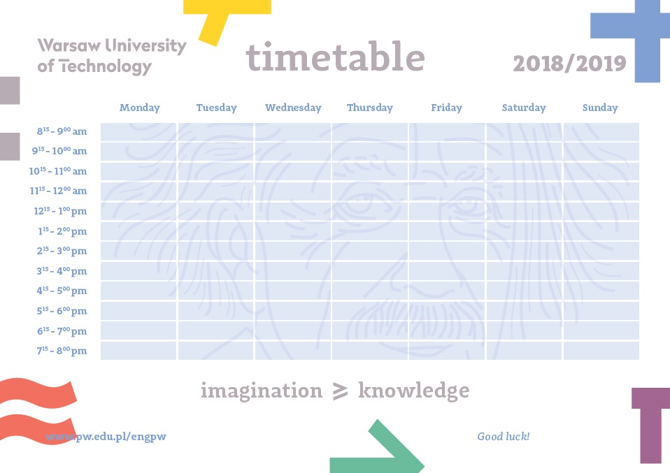 Download colourful timetable & academic calendar