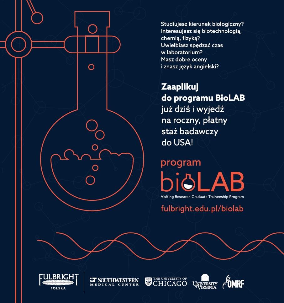 Dla studentów i doktorantów fizyki, chemii, biotechnologii - przyjdź na spotkanie, aplikuj do programu BioLAB