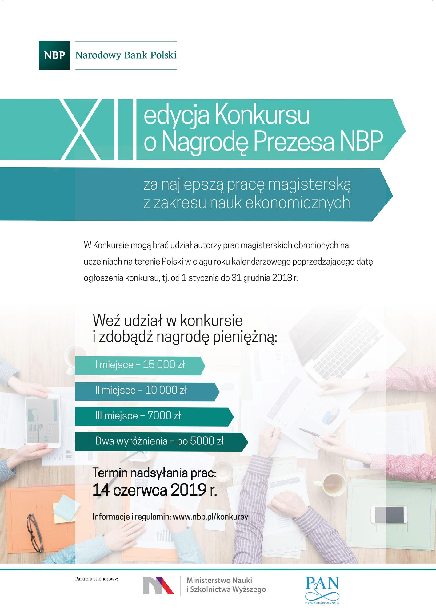XII edycja Konkursu o Nagrodę Prezesa NBP za najlepszą pracę magisterską z zakresu nauk ekonomicznych