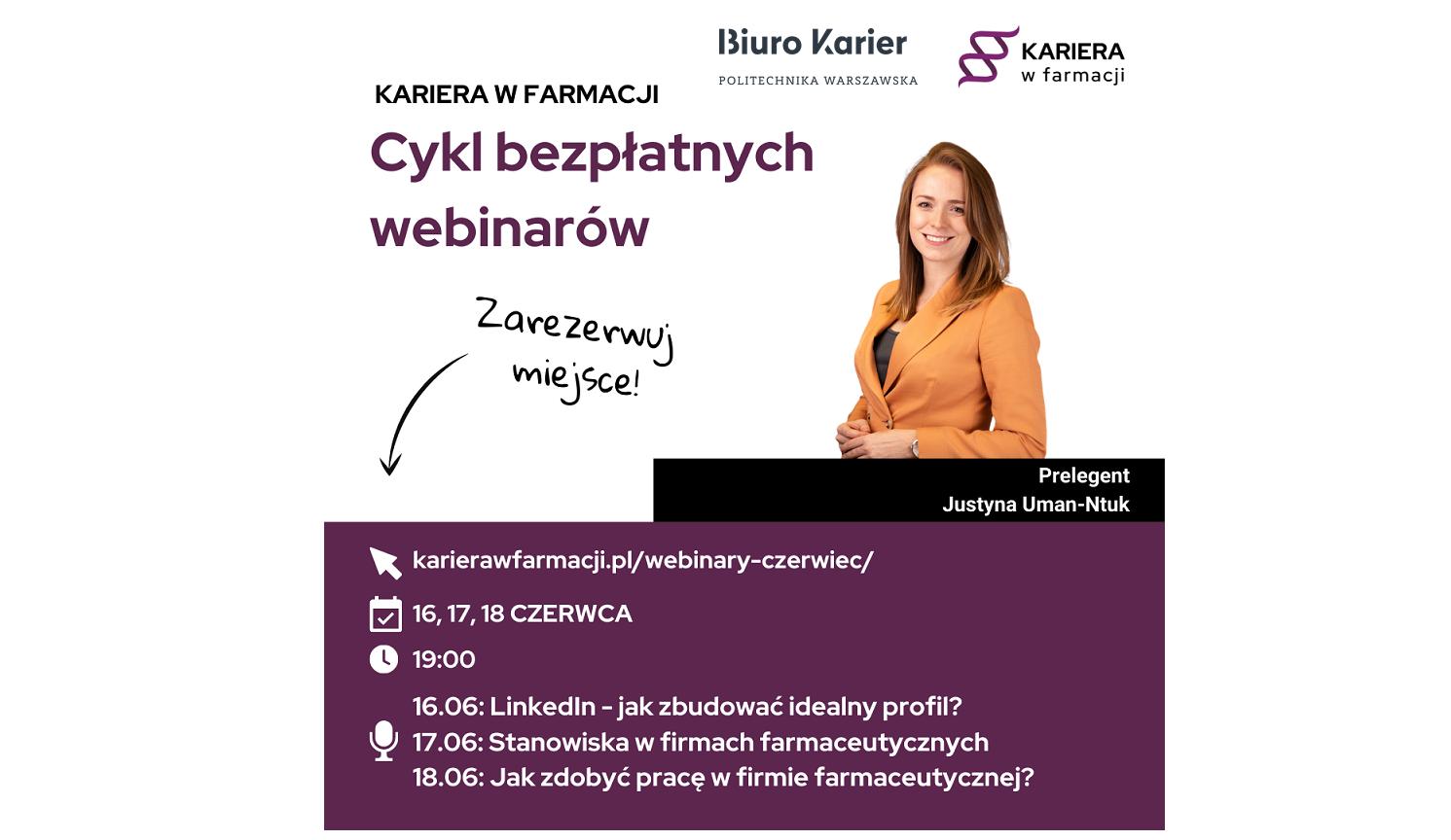 Kariera w farmacji - Cykl bezpłatnych webinarów (16-18.06)